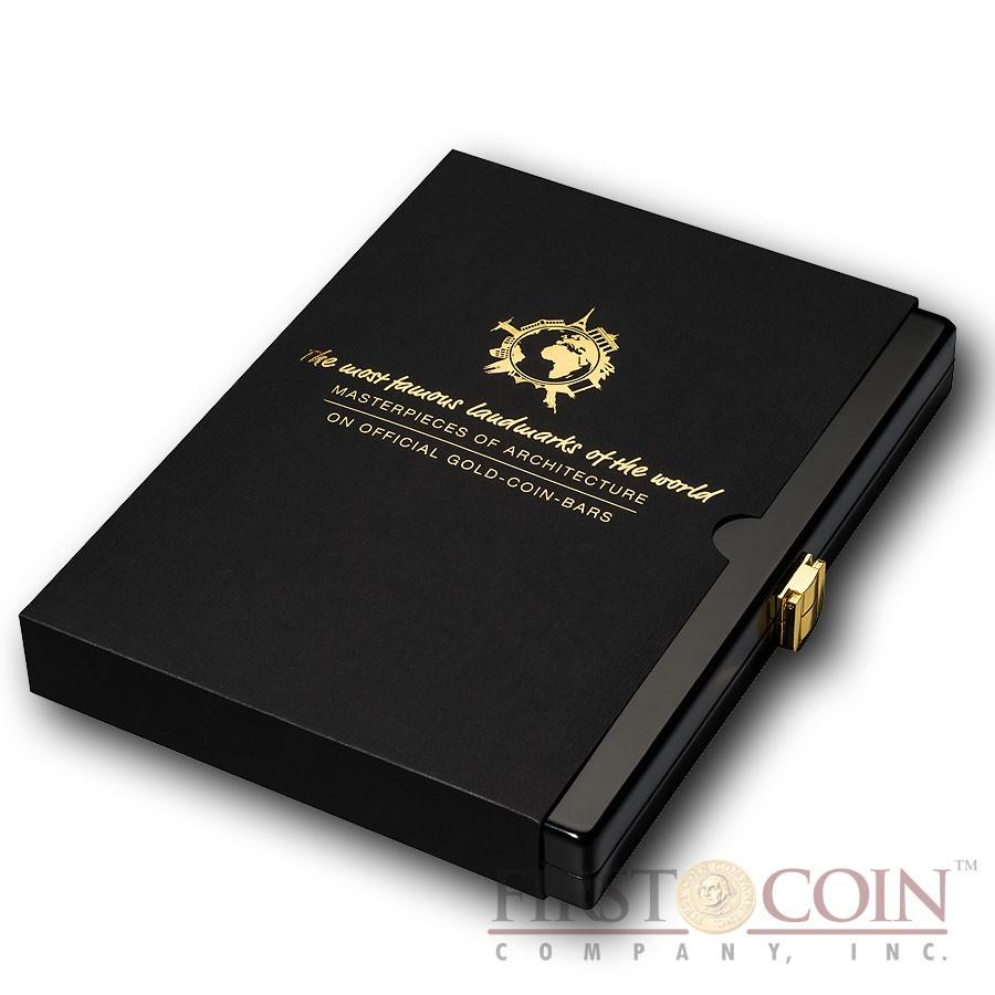 "Box for Solomon Islands set of 10 Gold coin-bar ""Famous World Landmarks"" series"
