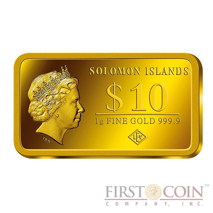 "Solomon Islands BERLIN $10 ""Famous World Landmarks"" series Gold coin-bar 2014 Proof"