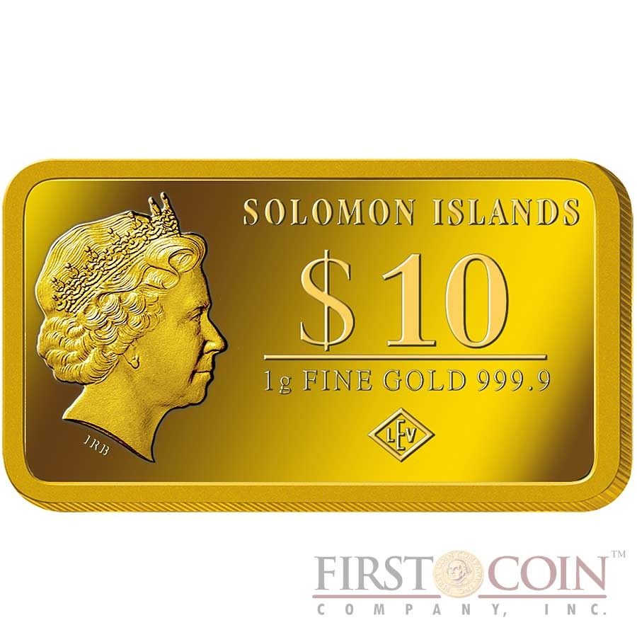 "Solomon Islands SAN FRANCISCO $10 ""Famous World Landmarks"" series Gold coin-bar 2014 Proof"