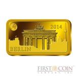 "Solomon Islands BERLIN $10 ""Famous World Landmarks"" series Gold coin-bar 2014 Proof"