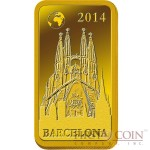 "Solomon Islands BARCELONA $10 ""Famous World Landmarks"" series Gold coin-bar 2014 Proof"