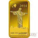 "Solomon Islands RIO DE JANEIRO $10 ""Famous World Landmarks"" series Gold coin-bar 2014 Proof"