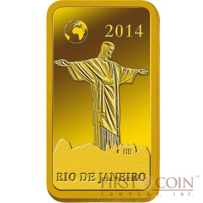 "Solomon Islands RIO DE JANEIRO $10 ""Famous World Landmarks"" series Gold coin-bar 2014 Proof"