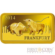 "Solomon Islands FRANKFURT $10 ""Famous World Landmarks"" series Gold coin-bar 2014 Proof"
