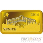 "Solomon Islands VENICE $10 ""Famous World Landmarks"" series Gold coin-bar 2014 Proof"
