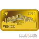 "Solomon Islands VENICE $10 ""Famous World Landmarks"" series Gold coin-bar 2014 Proof"