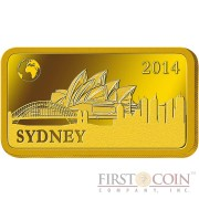 "Solomon Islands SYDNEY $10 ""Famous World Landmarks"" series Gold coin-bar 2014 Proof"