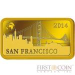 "Solomon Islands SAN FRANCISCO $10 ""Famous World Landmarks"" series Gold coin-bar 2014 Proof"