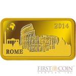 "Solomon Islands ROME $10 ""Famous World Landmarks"" series Gold coin-bar 2014 Proof"