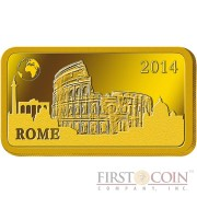 "Solomon Islands ROME $10 ""Famous World Landmarks"" series Gold coin-bar 2014 Proof"
