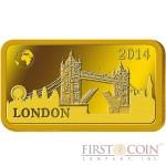 "Solomon Islands LONDON $10 ""Famous World Landmarks"" series Gold coin-bar 2014 Proof"