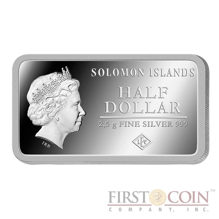 "Solomon Islands BERLIN $1/2 ""Famous World Landmarks"" series Silver coin-bar 2014 Proof"