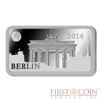 "Solomon Islands BERLIN $1/2 ""Famous World Landmarks"" series Silver coin-bar 2014 Proof"