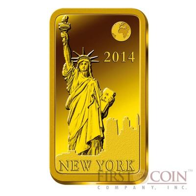 "Solomon Islands NEW YORK $10 ""Famous World Landmarks"" series Gold coin-bar 2014 Proof"