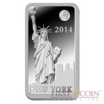"Solomon Islands NEW YORK $1/2 ""Famous World Landmarks"" series Silver coin-bar 2014 Proof"