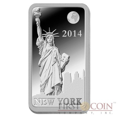 "Solomon Islands NEW YORK $1/2 ""Famous World Landmarks"" series Silver coin-bar 2014 Proof"