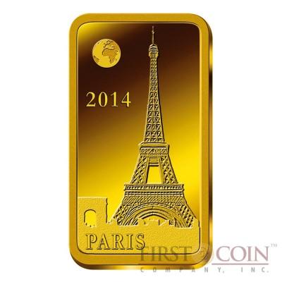 "Solomon Islands PARIS $10 ""Famous World Landmarks"" series Gold coin-bar 2014 Proof"