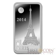 "Solomon Islands PARIS $1/2 ""Famous World Landmarks"" series Silver coin-bar 2014 Proof"