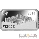"Solomon Islands VENICE $1/2 ""Famous World Landmarks"" series Silver coin-bar 2014 Proof"