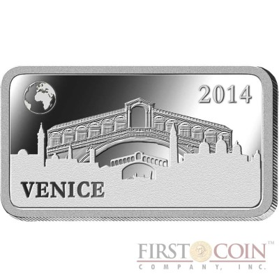 "Solomon Islands VENICE $1/2 ""Famous World Landmarks"" series Silver coin-bar 2014 Proof"