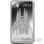 "Solomon Islands BARCELONA $1/2 ""Famous World Landmarks"" series Silver coin-bar 2014 Proof"