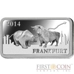 "Solomon Islands FRANKFURT $1/2 ""Famous World Landmarks"" series Silver coin-bar 2014 Proof"