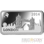 "Solomon Islands LONDON $1/2 ""Famous World Landmarks"" series Silver coin-bar 2014 Proof"