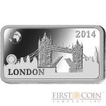"Solomon Islands LONDON $1/2 ""Famous World Landmarks"" series Silver coin-bar 2014 Proof"