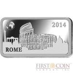 "Solomon Islands ROME $1/2 ""Famous World Landmarks"" series Silver coin-bar 2014 Proof"