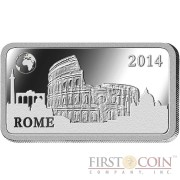 "Solomon Islands ROME $1/2 ""Famous World Landmarks"" series Silver coin-bar 2014 Proof"
