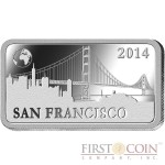 "Solomon Islands SAN FRANCISCO $1/2 ""Famous World Landmarks"" series Silver coin-bar 2014 Proof"