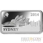 "Solomon Islands SYDNEY $1/2 ""Famous World Landmarks"" series Silver coin-bar 2014 Proof"