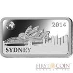 "Solomon Islands SYDNEY $1/2 ""Famous World Landmarks"" series Silver coin-bar 2014 Proof"