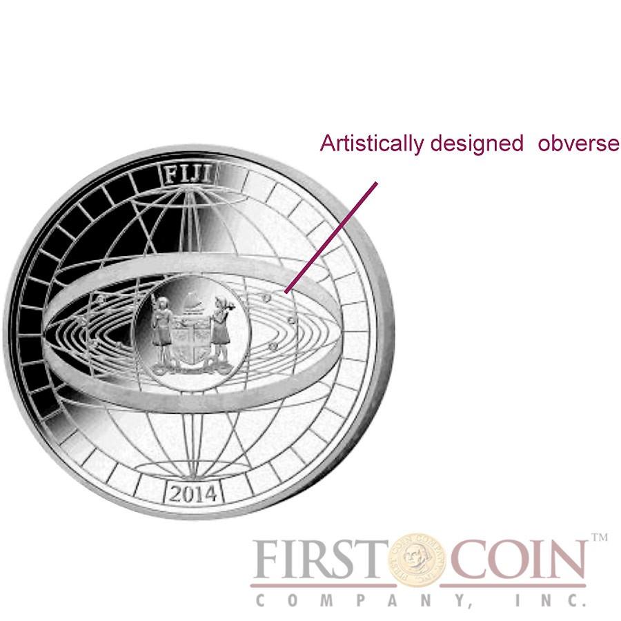 Fiji 450th Anniversary of Galileo Galilei $20 Gilded Metallic-Coloring Silver Coin Swarovski Stars Crystals 2014 Proof 1 Kilo