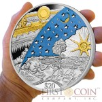Fiji 450th Anniversary of Galileo Galilei $20 Gilded Metallic-Coloring Silver Coin Swarovski Stars Crystals 2014 Proof 1 Kilo