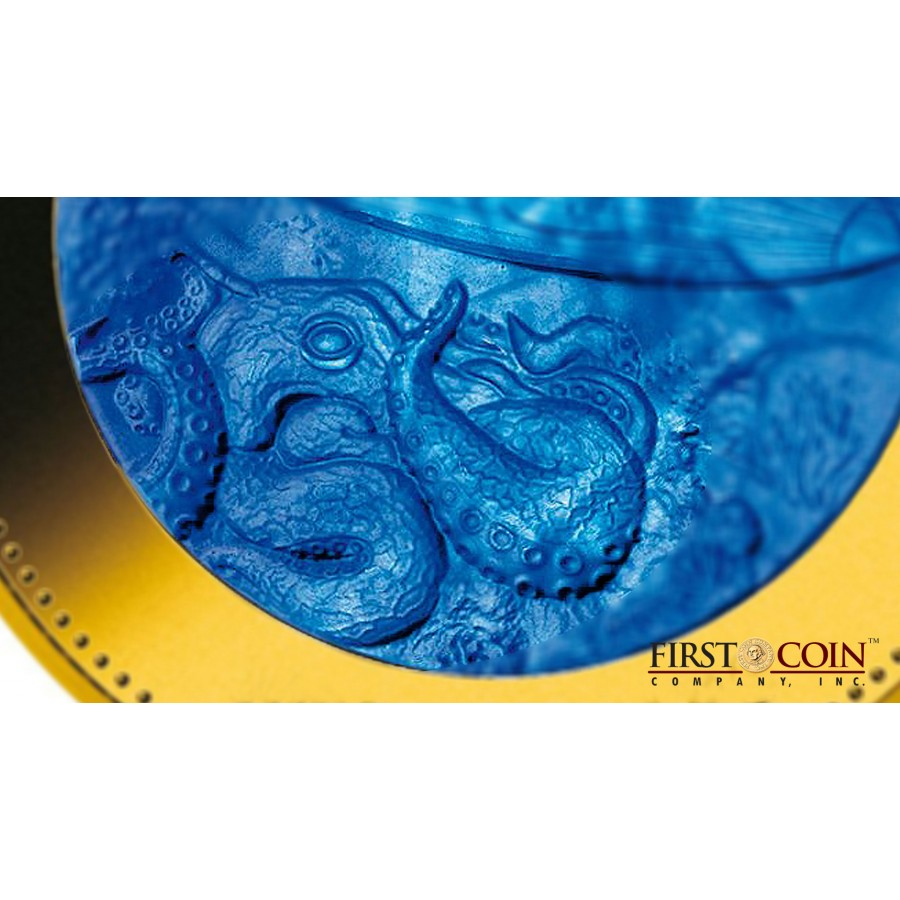 Cook Islands Nautilus Submarine Jules Verne series DISCOVERY $1000 Gold Coin 2014 Mother of Pearl Proof 5 oz