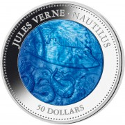 Cook Islands Nautilus submarine Series MOTHER OF PERL TRANSPORT 5 oz Jules Verne $50 Silver coin 2014