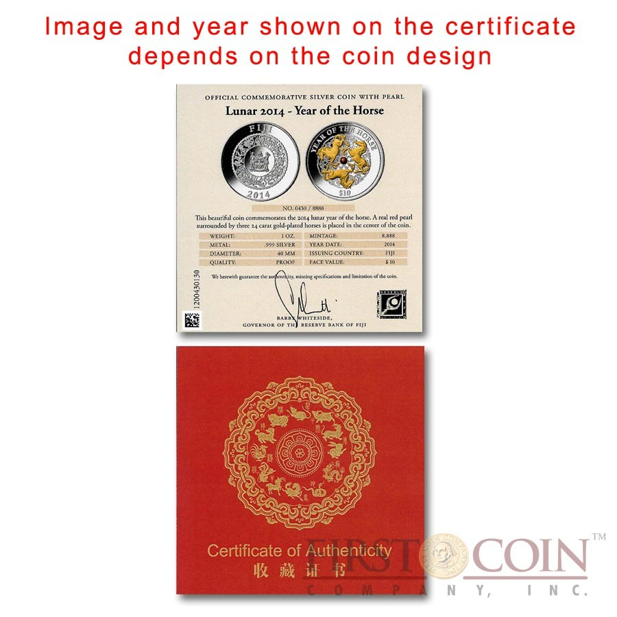 Fiji Year of the Dragon with Pearl Lunar Chinese Calendar 2012 Gilded $10 Silver Coin 1 oz