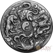 Tuvalu CHINESE ANCIENT MYTHICAL CREATURES DRAGON TIGER PHOENIX TORTOISE $2 Silver Coin 2016 Antique Finish Ultra High Relief 2 oz