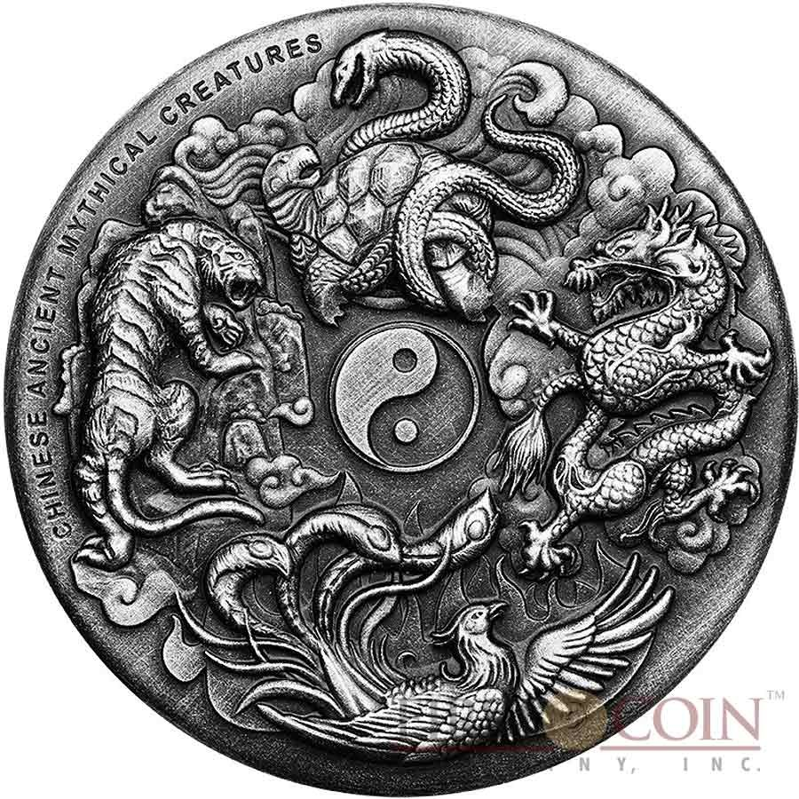 2oz Silver Coin The Four Dragons Mintage of 2,000 2019 Mythical Dragons