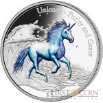 Fiji UNICORN PURITY AND GRACE $5 Silver Coin 2016 Multiple Metallic Color 3D High Relief 3 oz