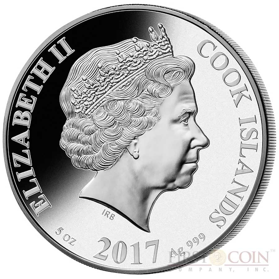 Cook Islands YEAR OF THE ROOSTER series MOTHER OF PEARL LUNAR Silver Coin $25 Inlay Mother of Pearl 2017 Proof 5 oz