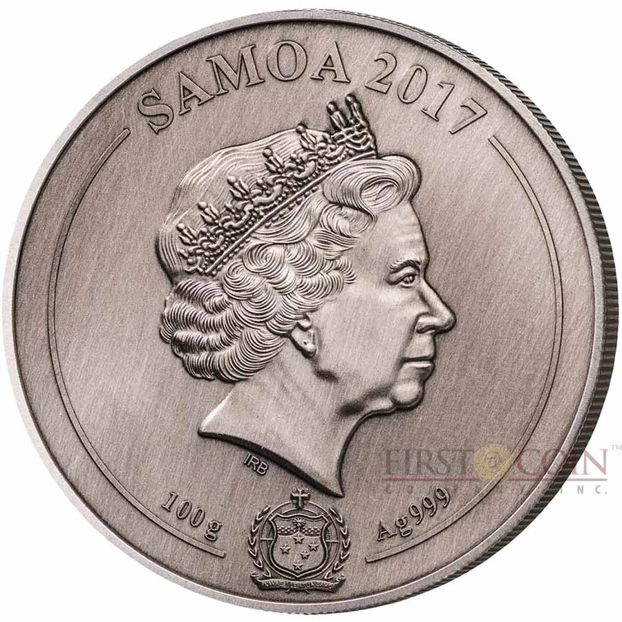 Samoa UNITED STATES CAPITOL WASHINGTON series 4 LAYER MINTING $10 Silver coin 100 g Antique finish 2017 Ultra High Relief Concave shape 3.2 oz