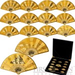 2016 Chinese 12 Lunar Zodiac Signs Animals Chinese Calendar and One Buddha Fan-shaped medals Gold plated copper Dual wave relief 318 grams