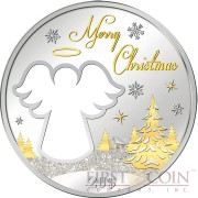 Kiribati CHRISTMAS CUT-OUT ANGEL SHAPE Silver coin $20 Diamond dust 2015 Unique shape 2 oz