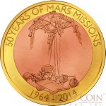 Samoa FIRST FLOATING COIN IN HISTORY 50 YEARS OF MARS MISSIONS 1964-2014 $1 Base metal coin 2014 Weightlessness technique 60 grams