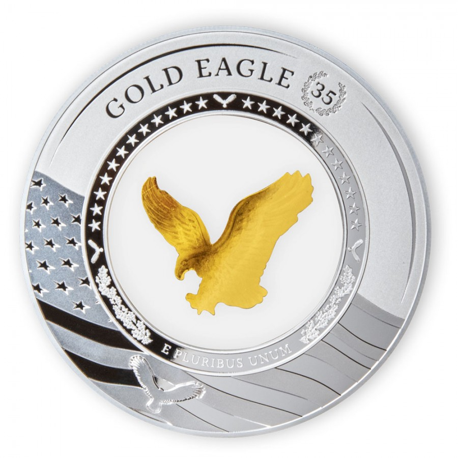 Solomon Islands FLYING GOLD EAGLE 35TH ANNIVERSARY EMBRACING $5 Silver Coin 2021 Gold insert Proof 2 oz
