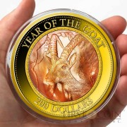 Cook Islands Year of Goat $200 Mother of Pearl Lunar Series 2015 Gold Coin 5 oz