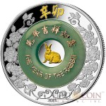 Laos YEAR OF THE RABBIT 2000 KIP Jade Lunar Chinese Calendar 2 oz series Gilded Silver Coin Proof 2011