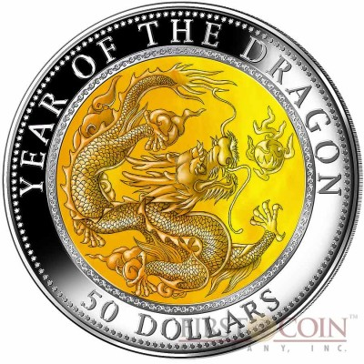 Fiji YEAR OF THE DRAGON $50 Mother of Pearl Lunar 5 oz Series Silver Coin 2012 Proof